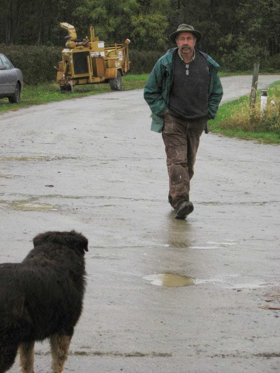 Pete and dog in the rain