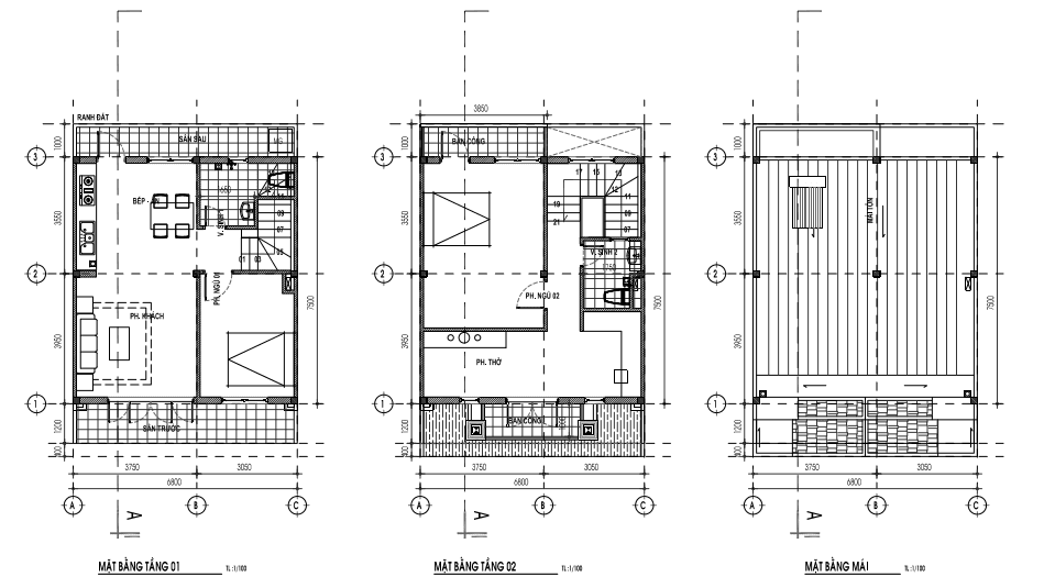 Mẫu nhà 6,8 x 10,3m - 1 trệt, 1lầu