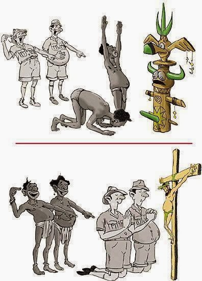 Funny Natives Missionaries Explorers Africa Mocking Religious Beliefs Cartoon Picture