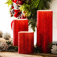 Red Glitter LED Candle with Remote
