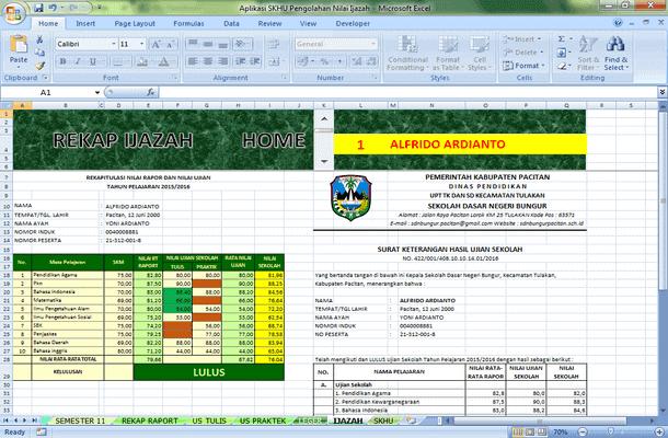 Aplikasi SHU Pengolahan Nilai Ijazah Format Microsoft Excel