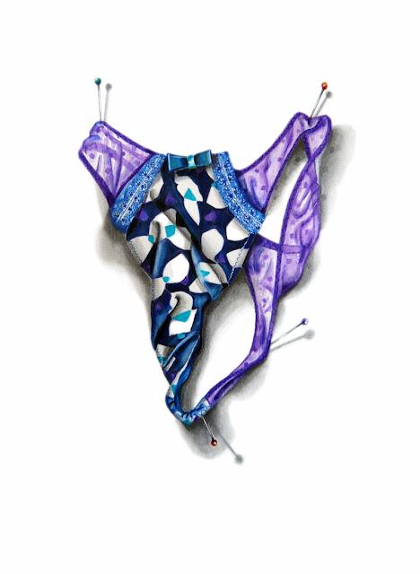 String bleu et violet avec un un motif géométrique proposé par Marie-Laure
