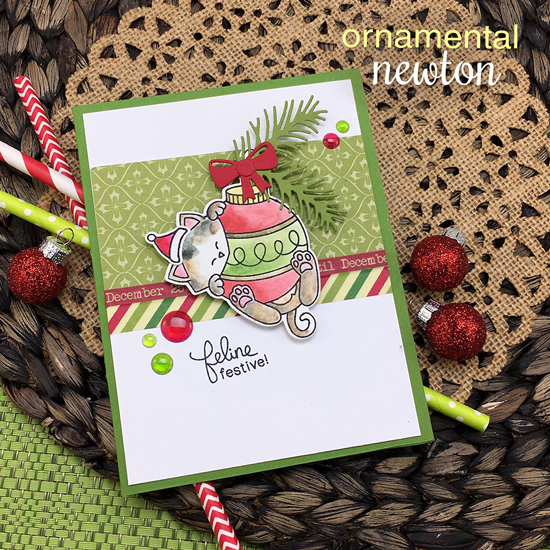 Kitty and Ornament Christmas Card by Jennifer Jackson | Ornamental Newton Stamp Set by Newton's Nook Designs #newtonsnook