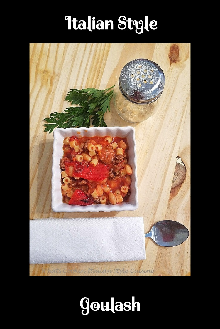 Italian style goulash is a classic American dish changed into an Italian American sauce. This goulash is filled with the freshest ingredients and easy to make. This goulash Italian style has fresh tomatoes, peppers and garlic in it with hamburger and using ditalini pasta in place of the elbow macaroni. The peppers in this dish are long red peppers sauteed in this pan with hamburger meat . There are also added cannelini beans in this photo