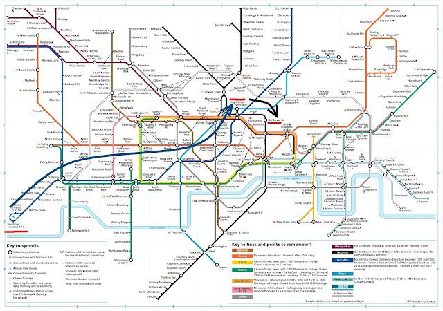Ruta a través del metro de Londres para llegar desde el aeropuerto de Heathrow hasta Old Street Square.