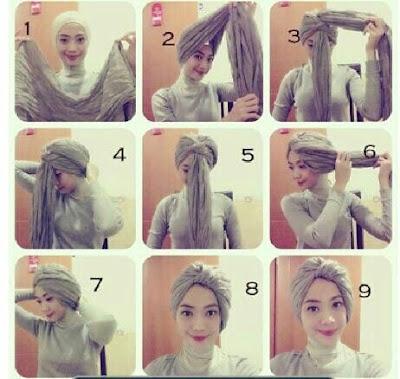 Tutorial Hijab Turban Pashmina Modern Gaya #6 Casual Simple