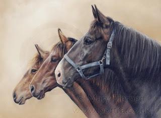 caballos pintados al pastel pintura mary herbert