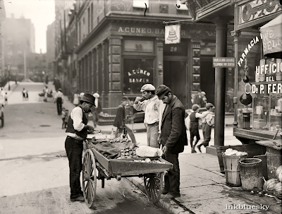 street vendor, new york, circa 1900