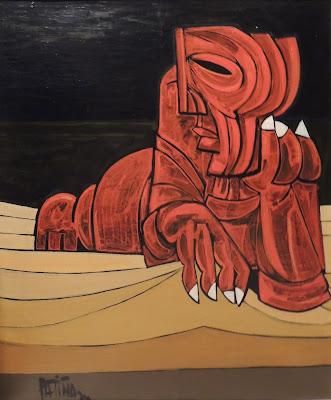 Antonio García Patiño arte moderno pintura al óleo figurativa hombre en la playa