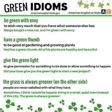 تعرف على تعبيرات و مصطلحات idioms لكلمة أخضر green