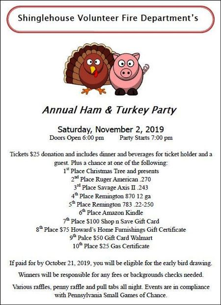 11-2 Ham & Turkey Party, Shinglehouse VFD