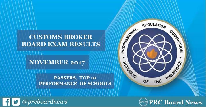 OFFICIAL RESULTS: November 2017 Customs Broker board exam