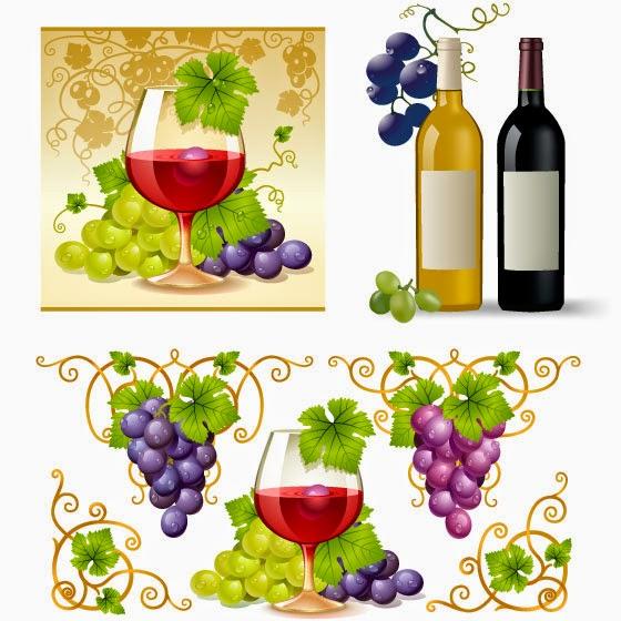 Uvas y vino - Vector