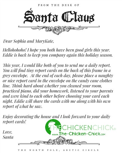 Sample Letter From Santa Elf On The Shelf Naughty Or Nice Report Cards To