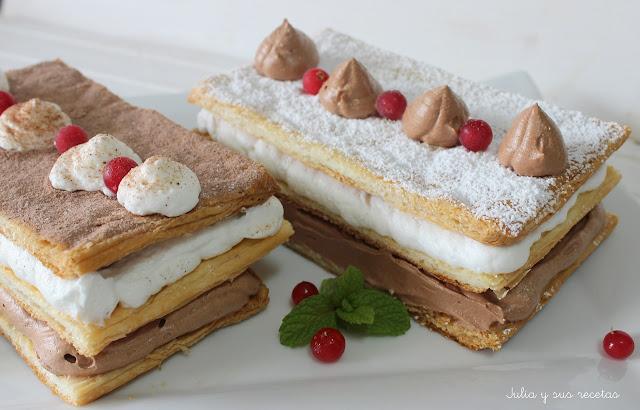 Milhojas de mousse de chocolate y nata. Julia y sus recetas