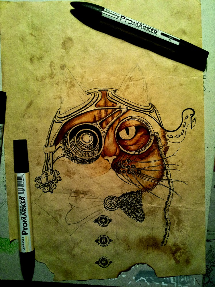 10-Cat-Wanted-Poster-Paula-Duță-Drawing-Animals-Steampunk-Clothing-www-designstack-co
