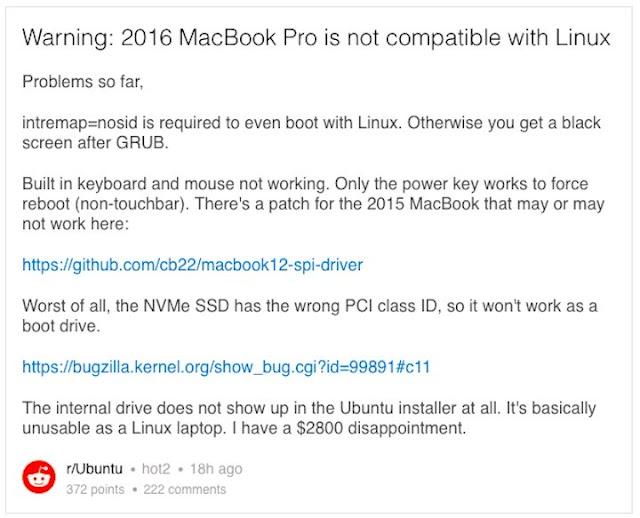 Usuário relatando os problemas encontrados com o MacBook