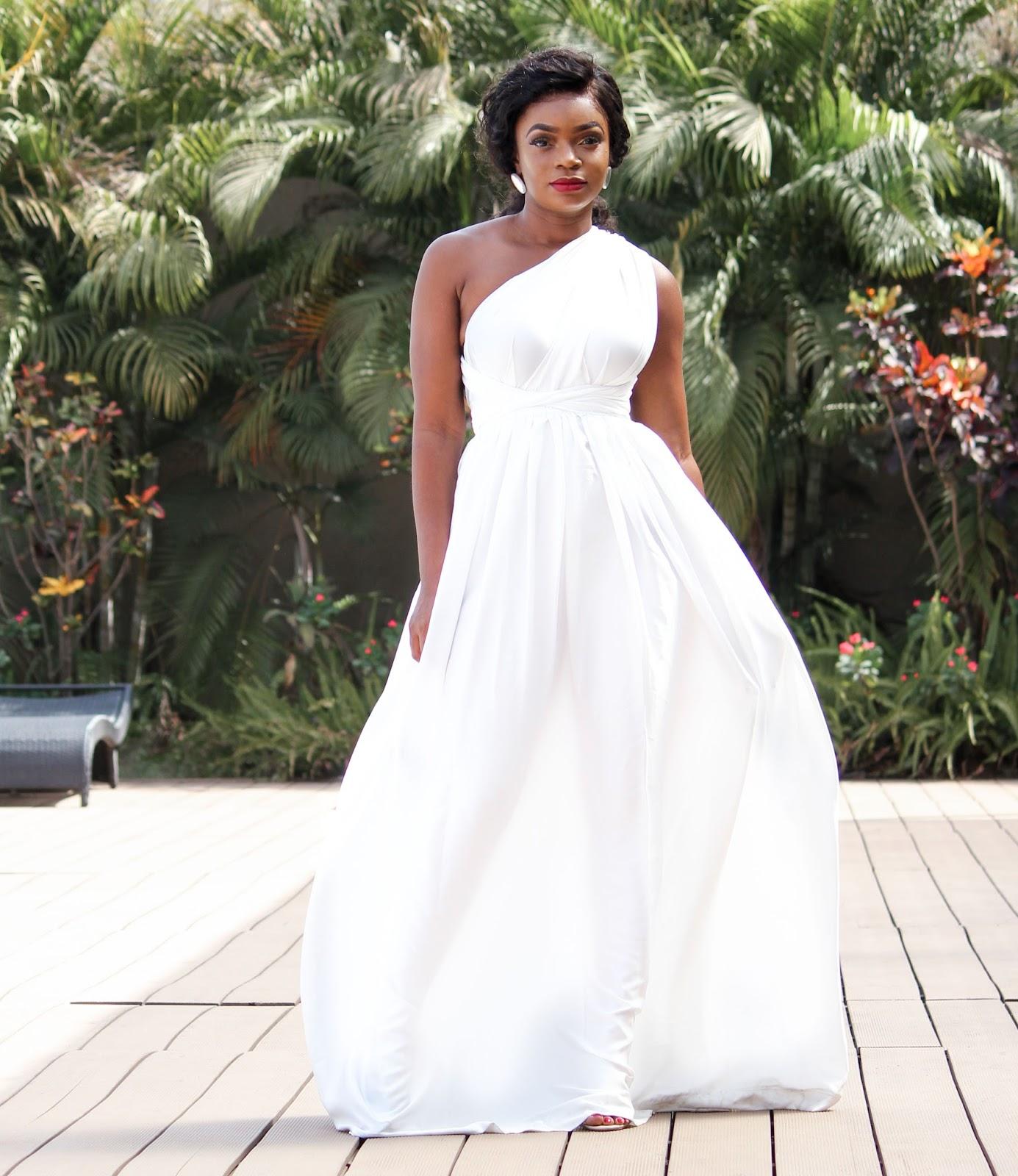 MULTI-WAY MAXI DRESS - White Multi-Way Maxi Dress from Porshher