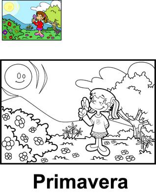 Estaciones Del Año Para Colorear Primavera 4 Dibujo