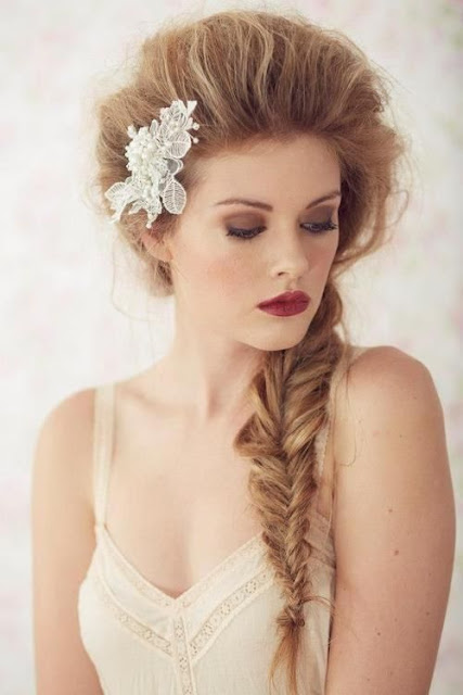 Rose Golden braid fishtail hairstyle
