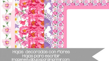 Hojas decoradas con flores para imprimir y escribir