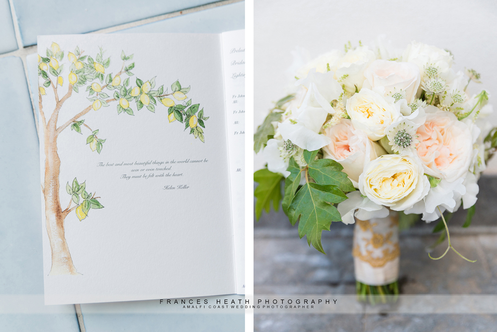 Details of bridal bouquet and Catholic ceremony booklet