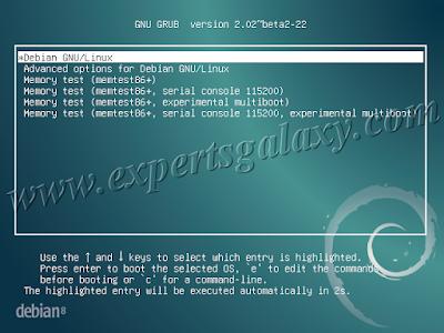 Debian Linux Boot Screen