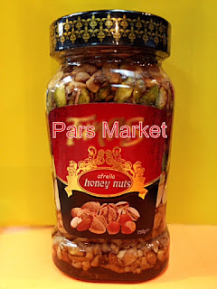 At Pars Market our Honey Nuts comes with 100% pure and natural wildflower honey infused with whole nuts for a true gourmet treat. The nuts are perfectly edible, bringing a bit of crunch and flavor to the honey