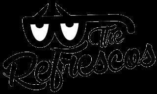 Logotipo de la banda madrileña: The Refrescos. Muestra el texto y una especia de gafas con pestañas de color negro