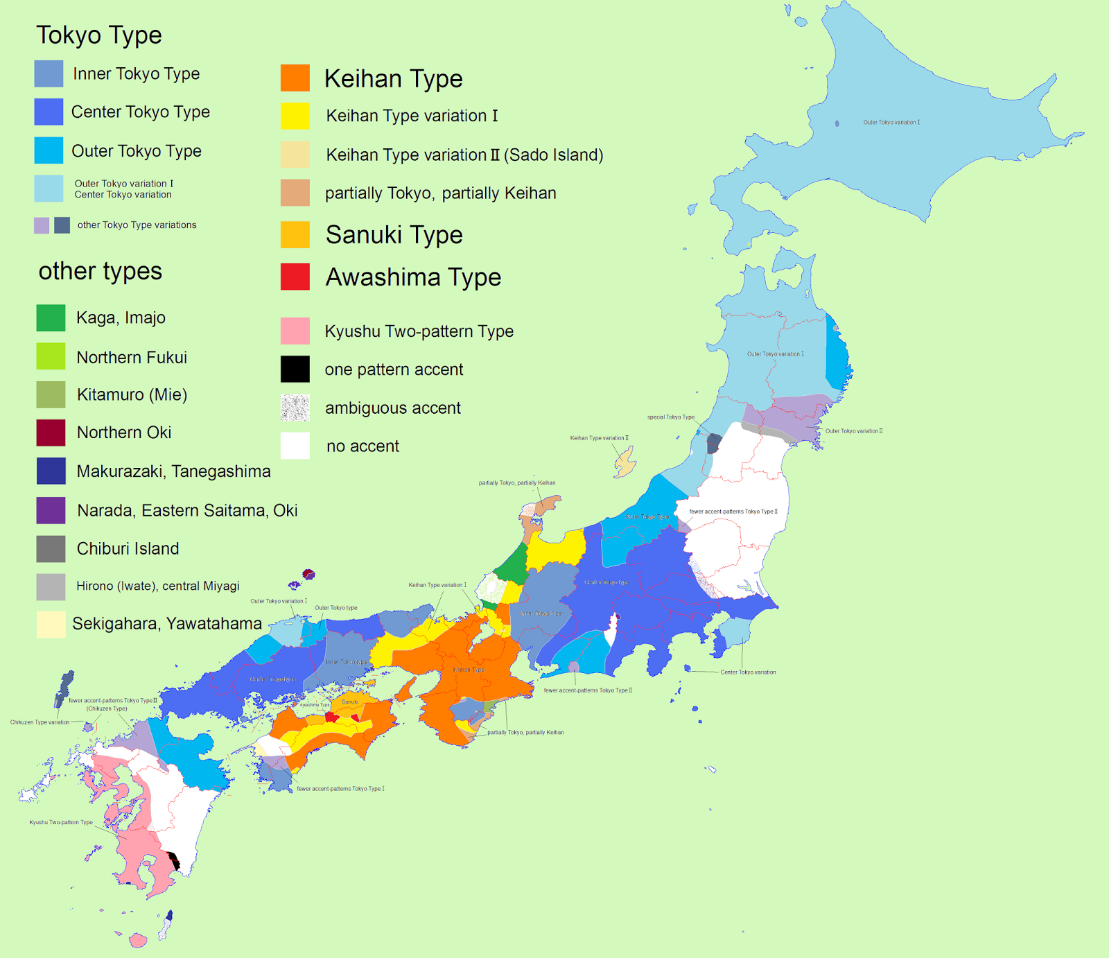 Map of Japanese Accents & Pitches