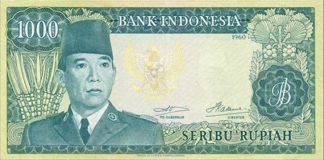 uang 1000 rupiah soekarno 1965 depan