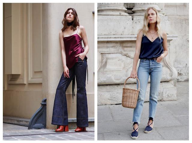Топы в бельевом стиле с джинсами