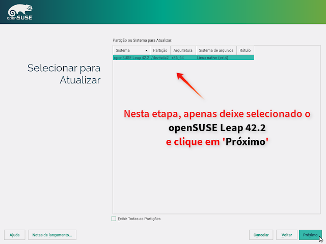 Selecione o sistema que deseja atualizar (no caso, o openSUSE Leap 42.2)