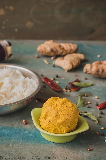 Bowl of fresh turmeric and ginger chutney