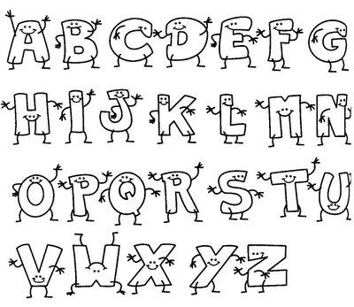 Alfabeto pontilhado cobrir pintar colorir portal escola - Formas de letras para decorar ...
