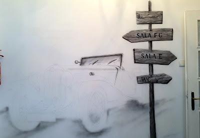 Malowanie zabytkowego samochodu na ścianie, mural wykonany areografem, graffiti w pokoju malowanie samochodu