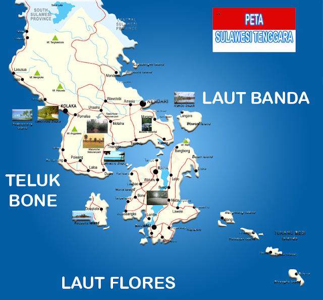 Peta Provinsi Sulawesi Tenggara Lengkap 15 Kabupaten 2 Kota