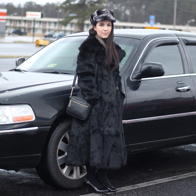 Black Vintage Rabbit Fur Coat