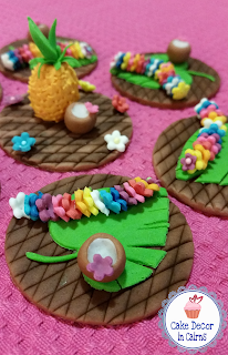 Luau Coconut, Pineapple, Flower Lei Fondant Toppers by Cake Decor in Cairns