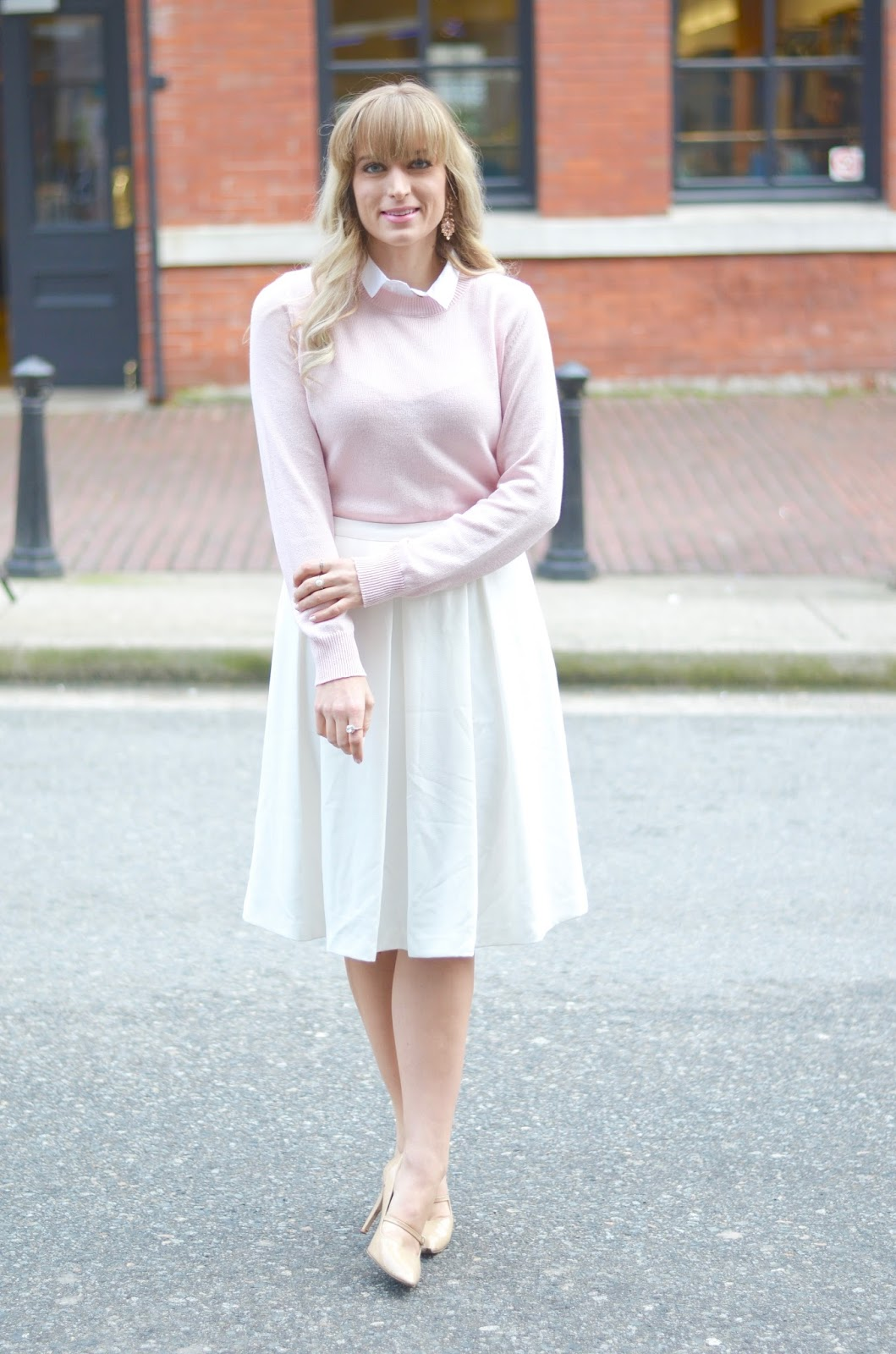 pink faux collar sweater