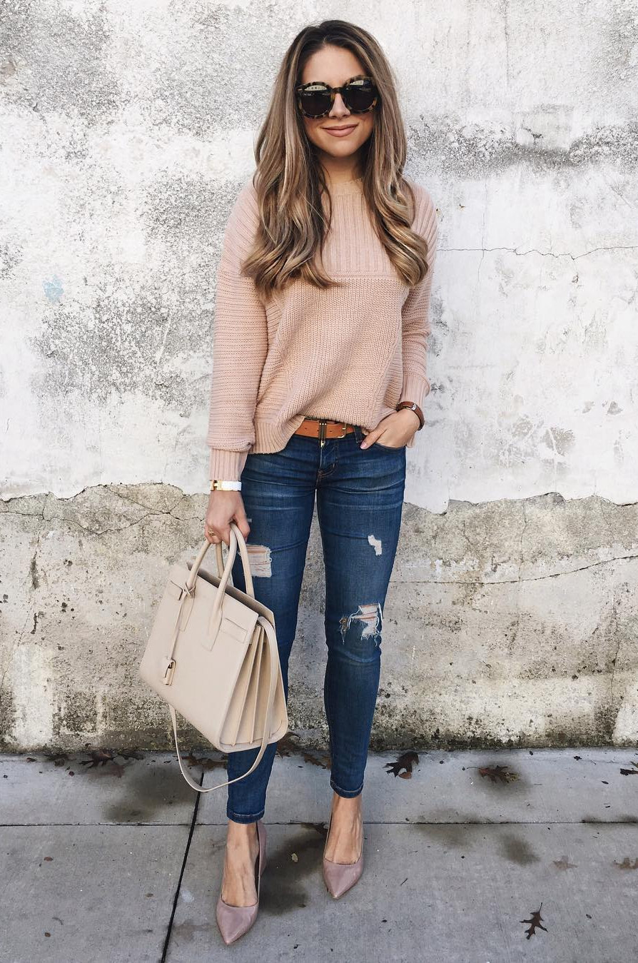 Denim jeans with nude details