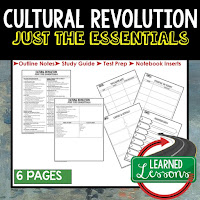 Cultural Revolution, World History Outline Notes, World History Test Prep, World History Test Review, World History Study Guide, World History Summer School Outline, World History Unit Overview, World History Interactive Notebook Inserts