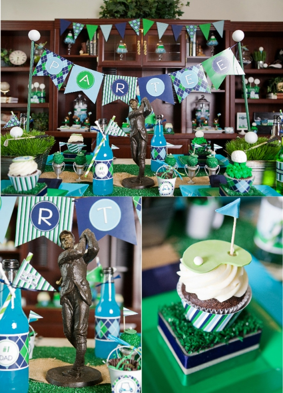 Golf Party Ideas and Table Setting Tablescape, Decorations  - via BirdsParty.com
