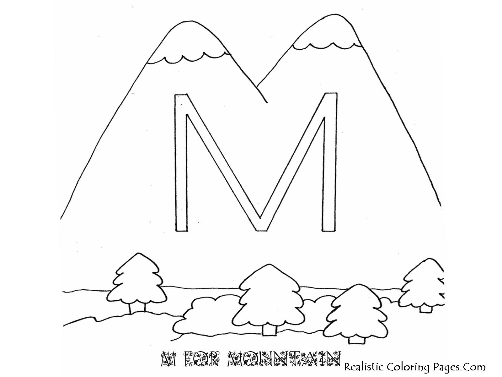 M Letters Alphabet Coloring Pages