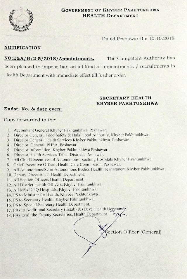 BAN ON APPOINTMENTS IN HEALTH DEPARTMENT