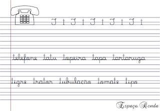 caderno de caligrafia letra T