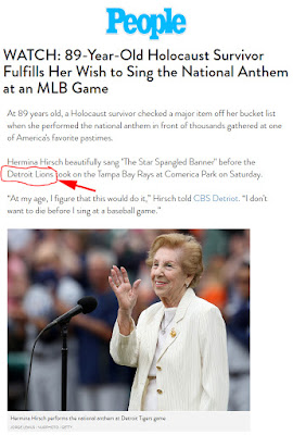 Hermina Hirsch sings the National Anthem before Detroit Tigers game