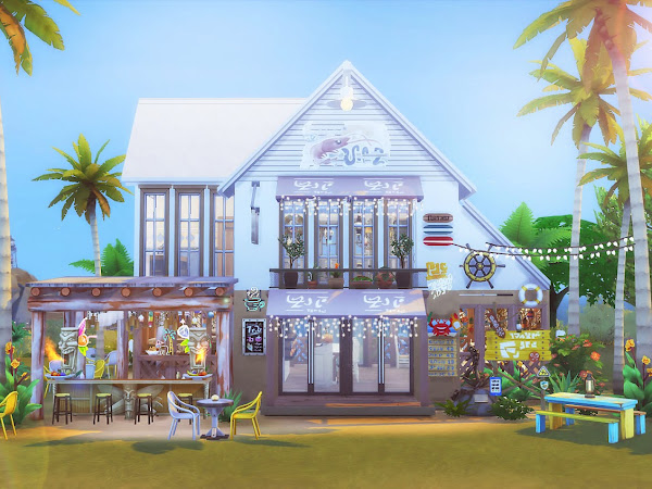 Sims 4 The Seafood Bar  海鮮餐廳  No CC