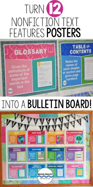 Create a fun and educational bulletin board with this set of 12 nonfiction text features posters!