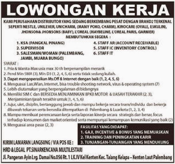 Lowogan Kerja Pt Sinar Kencana Multi Lestari Karir Palembang